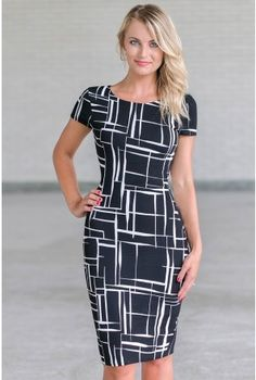 Black Printed Work Dress, Cute Work Dress