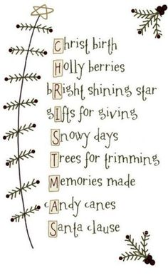 This would be a fun poster and marker project for the grandkids. They could change any of the words to make it their own. Christmas Projects, Christmas Art, Holiday Crafts, Christmas Stockings, Christmas Holidays, Christmas Ideas, Xmas, Primitive Stitchery, Primitive Patterns