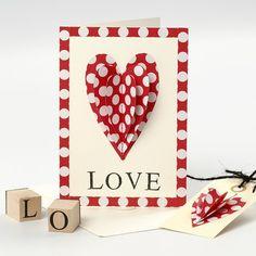13507 Valentinskort med påsytt hjärta och stämplad text