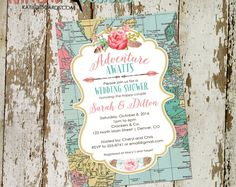 travel theme bridal shower invitation baby couples stock the bar miss to mrs i do bbq boho chic tribal diaper wipes brunch Travel Baby Showers, Memorial Cards, Wedding Invitation Inspiration, Boho Baby Shower, Bridal Shower Invitations, Balloons, Air Balloon, Party Themes, Diy