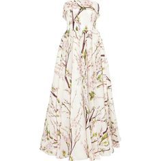 Dolce & Gabbana Almond blossom-print silk-organza gown ($1,450) ❤ liked on Polyvore featuring dresses, gowns, dolce & gabbana, long dresses, pink, white floral dress, white evening gowns, white pleated dress, pink gown and pink evening gowns