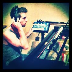 """Troy getting set-up  (recordng the piano for """"Crazy"""")"""