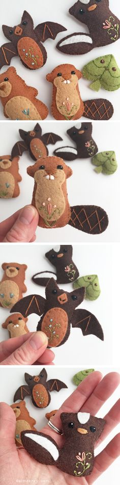 Stitch up your own super cute woodland felt animal friends with this easy sewing pattern from little dear! They make perfect ornaments, baby mobiles and finger puppets too. Animal Sewing Patterns, Easy Sewing Patterns, Felt Patterns, Craft Patterns, Felt Diy, Felt Crafts, Fabric Crafts, Sewing Stuffed Animals, Stuffed Toys Patterns