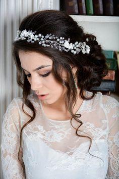 Pearl Wedding Hair Vine Pearl Bridal Headpiece Wedding hair