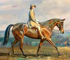 Mrs. Frew Riding ~ Alfred James Munnings, Horses ~ Counted Cross Stitch Pattern #StoneyKnobFarmHeirlooms #CountedCrossStitch