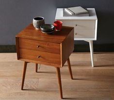 Vintage Home Mid-Century Nightstand - Acorn - Simple, sophisticated storage. Inspired by mid-century design, the Mid-Century Nightstand borrows its slim legs, angled face and understated retro details from iconic and furniture silhouettes. 60s Furniture, Furniture, Retro Furniture, Mid Century Modern Nightstand, Vintage Mid Century Furniture, Home Furniture, Furniture Inspiration, Home Decor, Mid Century Nightstand