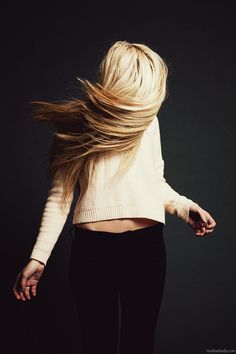 Yeah I know. She whips her hair back and forth.