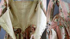 Detail, robe a l'anglaise and petticoat, c.1780. Pink and white striped silk brocaded with floral sprays, sprigs and trailing garlands of flowers; petticoat, blue silk satin, hand quilted in a pattern of vining flowers and foliage that is denser at the bottom, sparser toward the top. It has a glazed wool lining, white cotton waistband with hook and eye closure.