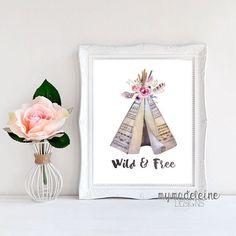 Wall Art Printable Wild and Free Boho Tribal Print Printable Design