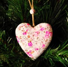 Christmas Heart Ornament by TopFloorTreasures on Etsy, $9.50.  #handmade #decoupage #pink #white #decorations