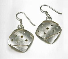 The Vinosus Jewelry Virtue Earrings are a blend of the Mixed Metal and Cosmos Collections. An arched sterling silver square is adorned with drilled holes and 14k gold fill wire wrapping.