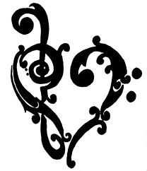 Treble & bass clef heart...possible wall heart for the music lover in your world. (Or a tattoo!)