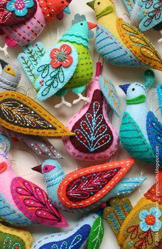 Stitching felt birdies