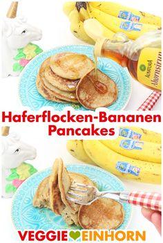 Gesunde Haferflocken Bananen Pfannkuchen mit wenig Zutaten   Schnelle Drei Zutaten Pancakes deutsch   Veganes Rezept Frühstück   gesund vegan glutenfrei schnell süß   3 Zutaten Pancakes   Einfaches schnelles Rezept mit VIDEO #VeggieEinhorn