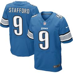 Men's Nike Detroit Lions #9 Matthew Stafford Elite Team Color Blue Jersey $129.99