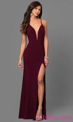 Low V-Neck Faviana Long Prom Dress with Corset Back Tight Prom Dresses, Pretty Prom Dresses, Ball Dresses, Beautiful Dresses, Evening Dresses, Sexy Dresses, Formal Dresses, Bridesmaid Dresses, Maroon Prom Dress