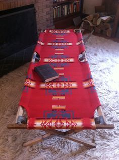 Too much for the guest room? Vintage Indian Summer Cot, Pendleton Native American Blanket Fabric, WWII Camping Cot. $435.00, via Etsy.