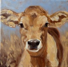 Jersey calf painting by Denise Rich (Vegan Tattoo Cow) Cow Paintings On Canvas, Cow Canvas, Animal Paintings, Cow Pictures, Sheep Art, Farm Art, Cow Art, Denise Rich, Wildlife Art