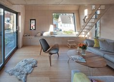 Interior shot of a lopsided house extension designed to create extra space upstairs