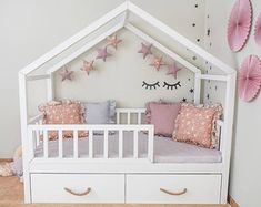 Toddler House Bed With Drawers Baby Bedroom, Baby Room Decor, One Bedroom, Girls Bedroom, Boy And Girl Shared Room, Ideas Habitaciones, Kids Bedroom Designs, Bed With Drawers, House Beds