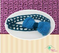 Modelo N° 11: Diadema Moño, tradicional y elegante diademat tejida en tonos azules ideal para ir al colegio con estilo