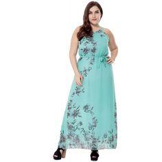 a11fbb5996d Woldgirls Women s Plus Size Halter Chiffon Boho Maxi Party Dress With Waist  Tie-Green Bohemian