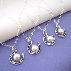 Bridesmaids' Necklaces for a country wedding - Lucky Horseshoe and Pearl