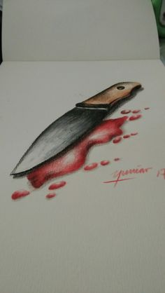 pencil colour...blood knife....