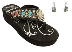 94424c4a40fab Showman Couture ™ Ladies western flip flops with Southwest embroidery with  iridescent crystal rhinstone rosette concho and studs. These wedge style  western ...
