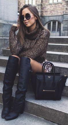 Over the knee boot + turtleneck.                              …