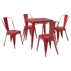 I can see this in my kitchen. Time to get rid of my formal dinning room set.  Create a stylish gathering place for friends and family with this cafe dining set.Product: 4 Chairs and a tableConstr...