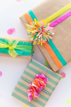 3 cute ways to wrap a gift with tissue paper.                                                                                                                                                                                 More