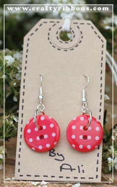 Crafty Ribbons | Ribbon and Button Jewellery week - Ear Rings                                                                                                                                                                                 More