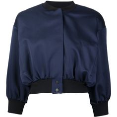 Victoria Victoria Beckham Cropped Bomber Jacket (£500) ❤ liked on Polyvore featuring outerwear, jackets, blue, bomber style jacket, blue bomber jacket, bomber jacket, cropped jacket and cropped bomber jacket