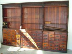 """19th century drugstore apothecary wall display cabinet 12'4"""" by 8'2"""" tall, base…"""