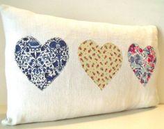 French Antique White Linen Liberty Tana Lawn Cotton Trio of Hearts Cushion Throw Pillow Coussin