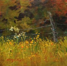 """Roadside Wildflowers""  8x8 painting by Margie Whittington"