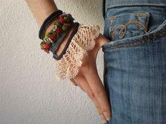 Cichorium Pumilum ... Freeform Crochet Cuff - Flowers - Teal Blue Cream Navy Burgundy - Beaded. $168.00, via Etsy.