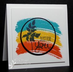 Mary combined Work of Art with World of Dreams in her CAS card. Her post explains how the accent circle is lined up with the bottom layer - so simple! All supplies from Stampin' Up!