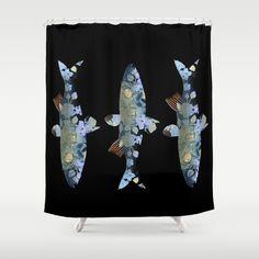 Flowery fish Shower Curtain