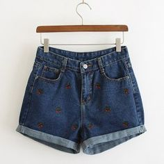 Stylish Cherry Embroidery Bleach Wash Denim Shorts For WomenVintage Shorts | RoseGal.com