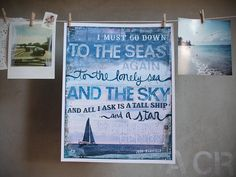 8 x 10 paper print - Sea Fever - inspirational nautical artwork with blues, rustic beach decor word art typography poem