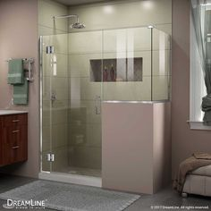 The DreamLine® Unidoor-X is a frameless shower door or enclosure that features a luxurious modern design, complementing the architectural details, tile patterns and the composition of your bath space. Unidoor-X showcases sleek, clean lines to enhance Frameless Shower Enclosures, Frameless Shower Doors, Bathroom Shower Doors, Bathroom Ideas, Shower Ideas, Shower Rooms, Washroom, Bathroom Remodeling, Wall Installation
