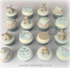 Babyshower cupcakes for twin boys.