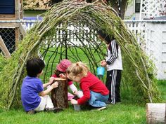 Natural forts: a grape arbor, a bean tent, etc.  Read more about Natural Playgrounds on Quiet Nature: http://www.quietnature.ca/natural-playgrounds-are-on-the-rise-in-ontario/