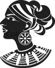 african stencil | Stock vector of 'Female profile in african style stencil'