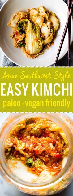 A spicy, tangy, and oh so Easy kimchi recipe! This paleo Asian Southwest Fusion style kimchi takes little to prep and make. The hardest part is waiting for it to ferment. Yep, a healthy side or topping to any di Wheat Free Recipes, Vegetarian Recipes Easy, Healthy Eating Recipes, Whole Food Recipes, Healthy Eats, Paleo Food, Vegan Meals, Yummy Food, Fast Metabolism Recipes