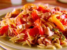 Orzo with Sausage, Peppers and Tomatoes recipe from Giada De Laurentiis via Food Network