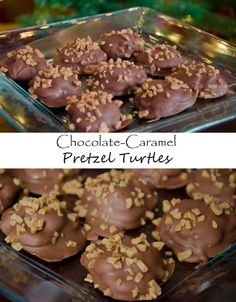 If you have a sweet tooth? You'll absolutely love these chocolate-caramel pretzel turtles! Pretzel Turtle Recipe, Toffee Bits, Chocolate Caramels, Homemade Candies, Creamy Peanut Butter, Candy Recipes, Other Recipes, Holiday Treats, Turtles
