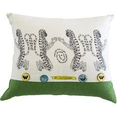 Scatter Cushion.  Wonder Boy range: Monkey Stripe Green.